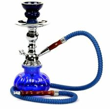Hookah Pipes 1 Hose Box Blue Water Shisha Bong Glass Smoking Tobacco Smoke