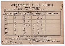 1898 WELLESLEY HIGH SCHOOL Report Card MASSACHUSETTS Seldon Brown ETHEL OSBORNE