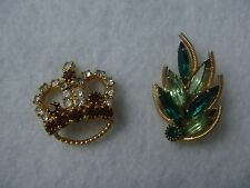VINTAGE PAIR MINIATURE CROWN & LEAF RHINESTONE GOLD TONE PIN BROOCH LOT