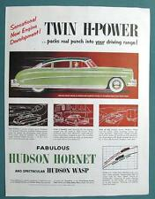 1952 Hudson Hornet Car Ad TWIN H-POWER PACKS REAL PUNCH INTO YOUR DRIVING RANGE