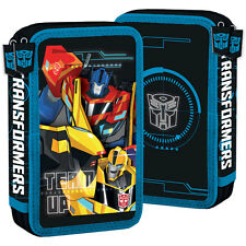 Transformers FILLED Double Pencil Case Stationery School Optimus Prime Bumblebee