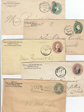 Stamps 1800's USA pre-printed embossed group of 5 covers all used & sent in USA