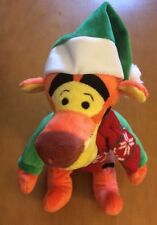 Disney Store Winter Tigger Plush With Christmas Hat, Scarf And Sweater 12""