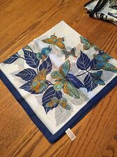Vintage Blue Butterflies 100% Polyester Made in Italy Scarf