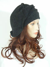 Fabulous lagenlook effortlessly chic anthracite grey wool slouchy beanie hat