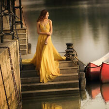 Yellow Chiffon Train Evening Dresses Quinceanera Prom Party Pageant Ball Gown