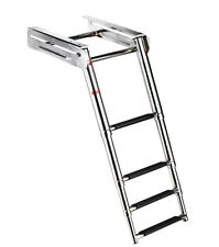 New 4-Step Under Platform Boat Boarding Ladder, Telescoping/Stainless Steel