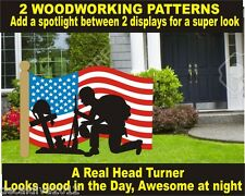 SOLDIER PRAYING 3D in front of USA FLAG  WOODWORKING  PATTERN plan patternsrus.