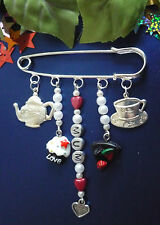 Handmade Sewing Fan 5 Charm Kilt Pin Brooch With Desired Name & Colour Adding!