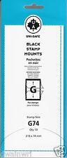 Uni-Safe Scott Prinz Split-Back #G74 mm Stamp Mounts 10 Black strips German Made