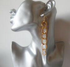 1 pair of 10cm long gold tone chunky chain CLIP ON drop - dangly earrings, NEW