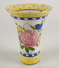 Handmade Ceramic Pottery Art Display  Vase ~ Multicolor Floral Design