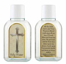 Holy Water Bottle - Silver Cross - 2 oz NEW (YC905)