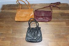 Lot de 3 anciens sacs a main en cuir - Vintage - Femme - Prune noir marron