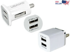 2-Port Dual USB Wall + Car Charger US Plug For Samsung HTC LG iPhone iPod iPad