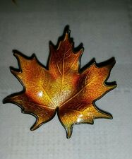 Norway HROAR PRYDZ 925S/ENAMEL C1960's maple leaf orange brooch 2""