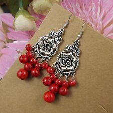 Women Colorful Turquoise Tibetan Silver Flower Dangle Pendants Fit Hook Earrings
