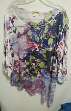One World women plus size 1X Purple Lacy BLING 3/4 sleeve Lot#3