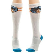 DRAGON BALL Z GOKU STRIPED ATHLETIC KNEE HIGH SOCKS WHITE BLUE RETRO BIG FACE