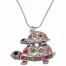 Sea Turtle Tortoise Pendant Necklace Charm Tibetan Silver Rhinestone Multicolor
