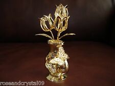 TULIPS IN VASE~BUTTERFLY~24K GOLD PLATED FIGURINE WITH BEST~AUSTRIAN CRYSTALS~