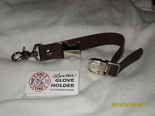 FIREFIGHTER GLOVE HOLDER STRAP BROWN LEATHER HANDMADE w/ NICKEL HARDWARE $11