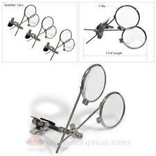 (3) Double Lens Loopy Loupe 10X Power Magnifers Magnifying Glass Clip On Glasses