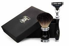 Pure Black Badger Hair Shaving Brush in Black With Gillette Mach 3 Razor For Him