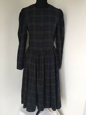 LADIES VINTAGE RETRO GREEN BLUE TARTAN CHECK DRESS SIZE 12 BY LAURA ASHLEY