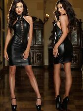 Sexy Womens Faux Leather  Erotic Lingerie PVC Cosplay Clubwear Costume Dress Hot
