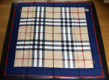 New Authentic Women's Burberry Large Beige Check Blue Navy Border Silk Scarf