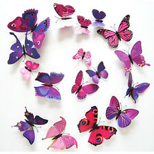 12 Pcs Purple&Pattern 3D Butterfly Art Design Decal Wall Stickers Fridge Magnet