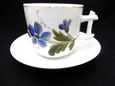 Antique Mustache Cup & Saucer Blue Flowers w Square Twig Handle