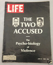 Life Magazine June 21, 1968. The Two Accused. The Psycho Biology of Violence