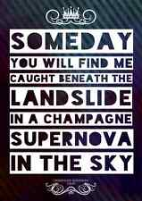 Oasis Champagne Supernova Pop Poster Music Lyrics Design A4 Typography Art Print