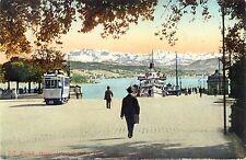 Zürich, Bürkliplatz mit Salondampfer und Strassenbahn, 1926