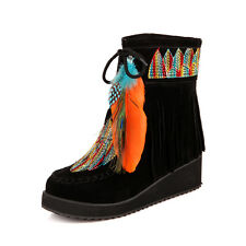 womens ethnic pull on Bohemia Feather ankle boots Roman lace up Tassel shoes 2-9