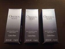 3 Pack of Obsession Night by Calvin Klein .75 oz Total Eau de Parfum Spray NIB