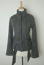 Ted Baker Designer Tweed Button Up Jacket Coat Size 2 UK 10 49% Wool Thick Warm