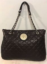 DKNY Black Quilted Nappa Leather Bag Chanel-like Large Chain Strap Nw/oT