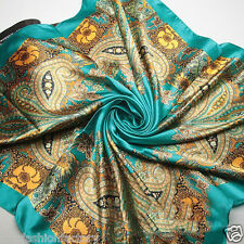 Blue Bohemian Satin Silk Square Scarf Oil Paint Scarf