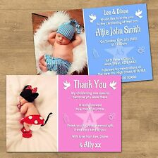 10 Personalised Boy Girl Christening Baptism Invites Or Thank You Cards (CH5P)