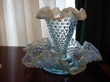 Hard-to-Find Fenton Blue Opalescent Hobnail #3902 Petite Epergne  NO RESERVE