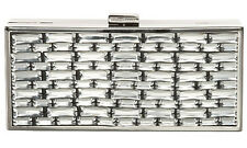 "$198 BCBG GUNMETAL ""BDH704EV"" JEWELED BOX CLUTCH"