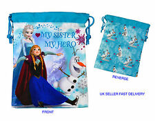DISNEY FROZEN ELSA ANNA OLAF SOFT NYLON DRAWSTRING SCHOOL GIRLS LUNCH SNACK BAG