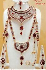 Bollywood Style Designer Bridal Diamond Stone Necklace Set Jewellery Gold Plated
