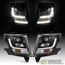Black 2015-2017 Chevy Suburban Tahoe Halogen LED Light Tube Projector Headlights