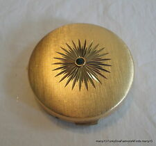 Cute Vintage Volupte Gold Tone Round Powder Compact w Green Stone Accent