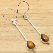 925 Silver Plated Drop Brown TIGER'S EYE Gems LATEST STYLE FASHIONABLE Earrings