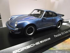 PORSCHE 911 930 Turbo 3.0 blue blau met 1974 Museum Edition Welly 1:43